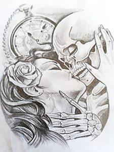 Schädel Frau gezeichnet