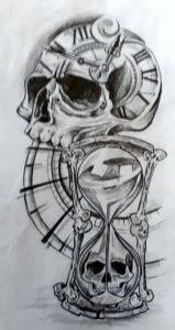 Schädel gezeichnet